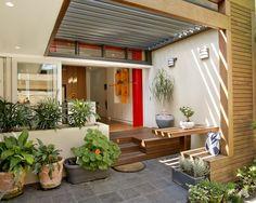 13 Stunning Minimalist Front Porch Design Idea For Your Minimalist Home — Decor & Design Veranda Design, Terrace Design, Patio Design, House Design, Garden Design, Front Yard Patio, Backyard Patio, Front Yards, House Extension Cost