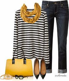 Casual Outfits - Mustard Proenza Schouler shirt, PAIGE DENIM jeans, Flat Shoes, Marni bag, mustard Scarf by Fashion Mode, Look Fashion, Womens Fashion, Fashion 2018, Trendy Fashion, Fashion News, Mode Outfits, Fall Outfits, Fashion Outfits