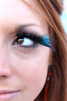 Blue Peacock Feather False Eyelashes $18