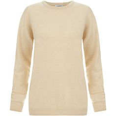 J.Lindeberg Crew Neck Cashmere Jumper ($80) ❤ liked on Polyvore featuring tops, sweaters, beige, crew neck tops, beige sweater, beige top, crew-neck sweaters and long sleeve jumper