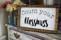 Count Your Blessing-Farmhouse Style Wooden Sign by campfireshop on Etsy