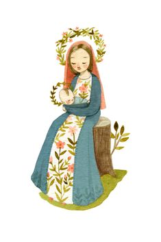 Our Lady of the Woods Art Print by petronillepress - X-Small Blessed Mother Mary, Blessed Virgin Mary, Religious Images, Religious Art, Jesus Cartoon, Isaiah 11, I Love You Mother, Mama Mary, Holy Mary