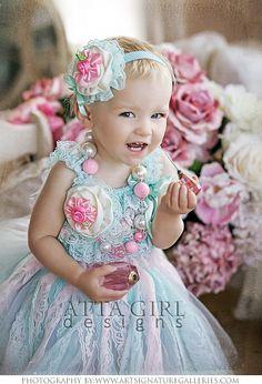 PASTEL PRINCESS CUPCAKE Cutie Tutu Skirt Set including Romper, Chunky Bead Necklace and Headband