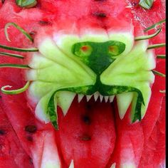 A lion made out of watermelon!