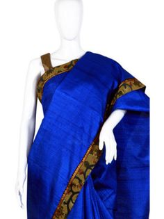 This Blue Tussar Silk Hand Painted Kalamkari Saree is perfect for any occassion. Buy more trendy saree online @ RedPolka