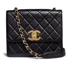 Vintage Chanel Square quilted lambskin leather big CC flap bag ($4,415) ❤ liked on Polyvore featuring bags, handbags, black, lambskin purse, square purse, quilted flap bag, lamb leather handbags and woven handbags