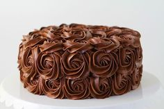 Whipped Chocolate Buttercream Rose Cake!