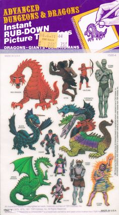 Advanced Dungeons and Dragons Picture Transfers (Dragons, Giants, Demi-Humans) Series 1 - 1981 Classic Rpg, Dungeons And Dragons Art, Dungeons And Dragons, Dungeon, Advanced Dungeons And Dragons, Fantasy Creatures, Fantasy Rpg, Dragon Pictures, Dragon