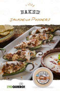 These Baked Jalapeno Poppers are creamy, spicy, loaded with cheese, and baked to perfection! The perfect homegating appetizer. Pepper Recipes, Pea Recipes, Fish Recipes, Mexican Food Recipes, Appetizer Recipes, Snack Recipes, Cooking Recipes, Jalapeno Popper Recipes, Jalapeno Poppers