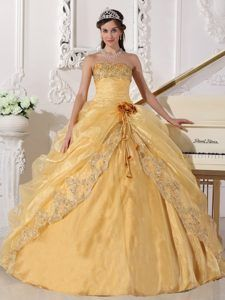Unique Gold Strapless Organza Quinceanera Dresses with Embroidery with Beading
