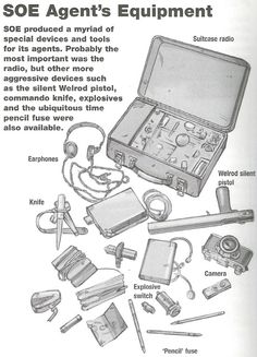 The tools of the trade of an agent of the British Special Operations Executive, that country's organization for espionage, sabotage, and reconnaissance during World War II. [x]