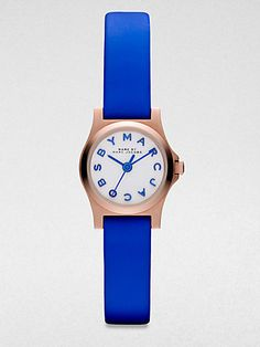 Marc by Marc Jacobs - Henry Dinky Rose Goldtone Stainless Steel Watch/Blue Strap - Saks.com