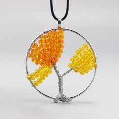 Yellow Beads Gemstone Tree of Life Pendant Leather Necklace Womens Charm Jewelry…