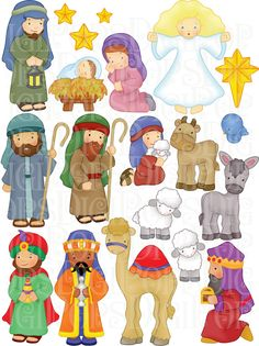Nativity Digital Clip Art Set -Personal and Commercial- Christmas, Baby Jesus, Mary, Wiseman, Stable Christmas Clipart, Christmas Nativity, Christmas Printables, Christmas Art, Christmas Holidays, Christmas Decorations, Etsy Christmas, Nativity Clipart, Clip Art