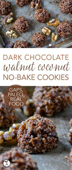 These Dark Chocolate Walnut Coconut No-Bake Cookies might be a mouthful. but they're a delicious one. And being paleo and GAPS-friendly, they're a healthy mouthful, too. Desserts Dark Chocolate Walnut Coconut No-Bake Cookies :: paleo, GAPS-friendly Paleo Dessert, Keto Desserts, Dessert Recipes, Dessert Food, Chocolate Coconut Cookies, Paleo Chocolate, No Bake Coconut Cookies, Delicious Chocolate, Walnut Recipes