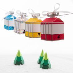 Adventskalender - DIY Seilbahn - Adventskalender, Gondeln - ein Designerstück von creatyve-design bei DaWanda