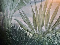 The Esplanade Hotel in St Kilda, Melbourne.   #stkilda #espy #visitmelbourne #bottlegreen #greeninterior #distressedmural #relaxeddining #botanicalmural #botanicalinterior #juassicdecor #indoormural #interiormural #botanicaldecor #riparian #primordialchic #wildinterior #naturalmural #rusticcontemporary #muraldetail #palmtreemural #ilovepalms #grass #tallgrass #spikygrass #spikypalm Botanical Interior, Botanical Decor, Visit Melbourne, St Kilda, Rustic Contemporary, Grass, Nature, Plants, Naturaleza