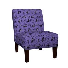Maran Slipper Chair featuring Dots with Cherry Skulls Purple by wickedrefined, this fabric is available at Spoonflower.com