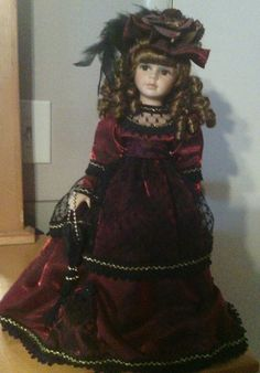 "Collectors Choice Dan Dee Porcelain 16"" Doll Red Black Lace Auburn Curls Hat 