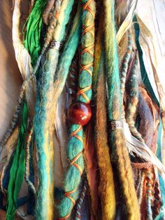 WANT! colorful dreads with wraps and beads