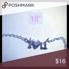 """Sterling Silver """"I♡U"""" charm on 18"""" chain Solid .925 sterling silver chain and """"I♡U"""" charm, NIB, slip this in to a hard and send to your favorite person, adorable way to say I love you, perfect gift for the holidays Accessories"""
