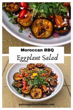Grilled Eggplant Recipes, Vegan Eggplant Recipes, Vegan Bbq Recipes, Eggplant Dishes, Cooking Recipes, Roasted Eggplant Salad, Salad Recipes, Moroccan Salad, Vegetarian Food