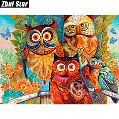 "New Full Square Diamond 5D DIY Diamond Painting ""Color Owl "" Embroidery Cross Stitch Rhinestone Mosaic Painting Decor Gift-in Diamond Painting Cross Stitch from Home & Garden on Aliexpress.com 
