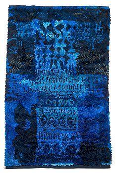 "RITVA PUOTILA, A LONG-PILE RUG. ""Zeus"", 1959. Blueish colors. Made by Suomen Käsityön Ystävät Oy. 108x195cm"