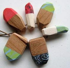 Polymer clay and wood beads
