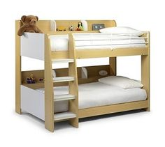 Abby Single Bunk Bed Just Kids Colour (Bed Frame): Maple White Bunk Beds, Wooden Bunk Beds, Bunk Beds With Stairs, Cool Bunk Beds, Toddler Bunk Beds, Adult Bunk Beds, Kid Beds, Beds Uk, Just Kids