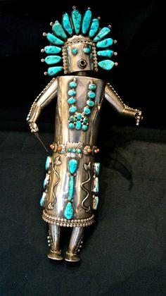 Zuni Fetish Silver & Turquoise Dancer | Native American Jewellery | Jessie Western