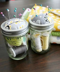 Organizing with jars - organize sewing supplies in jars