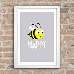 Poster Bee Happy - Comprar em Encadreé Posters
