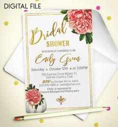 Bridal Shower Invitation Romantic Printable invite by AlniPrints  #Bachelorette #Bridal #Shower #Invitation #brunch #idea #invite #Lingerie #party #dinner