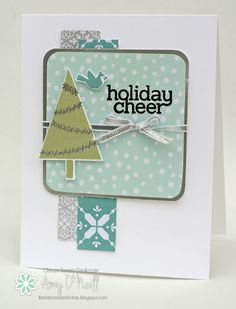 Amy O'Neill : Amy's Paper Crafts  – Holiday Cheer Tree - 9/17/14 (SU: All is Calm dsp; Holiday 2014 stamps: Cheerful Tags, Festival of GTrees)