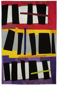 """Karen Schulz:  Black Shapes 2 86"""" x 56"""" hand dyed and commercial cotton fabric, machine pieced and quilted"""