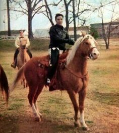 Elvis Presley and his horse Rising Sun