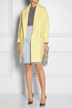 Miu Miu | Ciré vinyl pencil skirt, Stella McCartney Coat, Miu Miu Top and bag, Lanvin ring, Jimmy Choo Shoes