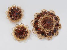 Vintage D&E Juliana Rhinestone Brooch & Earrings Scroll Pin