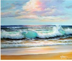 Blue Green Caribbean Sea Surf Waves Beach Sunset Stretched 20X24 Oil Painting