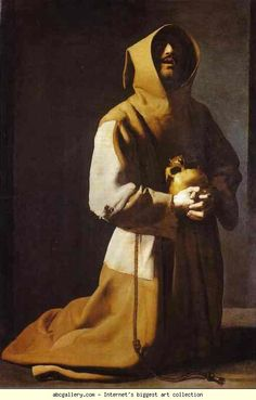 Francisco de Zubaran , St Francis in meditation. One of the most hypnotic paintings I have ever seen. http://www.theguardian.com/culture/2001/jul/21/art