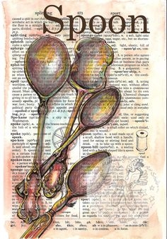 PRINT:  Spoon Mixed Media Drawing on Distressed, Dictionary Page