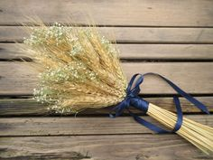 Simple Summer Wheat Bridesmaid/Flower Girl Bouquet -Dried Wedding Bouquet- Wheat Bouquet - Wheat by SeasonalBounty on Etsy https://www.etsy.com/listing/179786145/simple-summer-wheat-bridesmaidflower