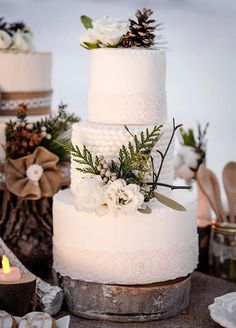 A rustic wedding cake looks almost too pretty to eat thanks to the addition of fresh white blooms and winter greens. Wedding Cakes, Cake Decorating, Winter Wedding