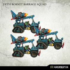 This set contains 3 Deth Rokket Halftracks. This set is 10% cheaper than separate models x3  This is expert kit for expirienced modelers. Each vehicle consist of  19 resin parts that require assembly.  May require some cutting and filing. This model is made to be compatible with 28mm scale miniatures - it has about 11cm in lenght and about 9cm in height (counting Deth Rokket).