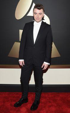 Grammys 2015 Red Carpet Arrivals - Sam Smith from Sam Smith, Celebrity Red Carpet, Celebrity Dresses, Lady Gaga, Celebrity Gossip, Celebrity Style, Celebrity News, Los Grammy, Grammy Award