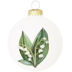 Lily Of The Valley With Legend Ivory Glass Ornament
