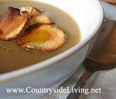Суп пюре с чипсами из топинамбура и печеным чесноком (крем суп). Рецепт, приготовление