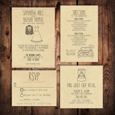 Wedding Invitation Suite Set - Personalized, Digital, Printable, Custom, DIY - RUSTIC, KRAFT Paper (Wedding Design #20) on Etsy, $10.00
