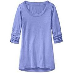 "Athleta Shiva Tee EUC! The color is pansy purple heather, and it is so soft. Cotton/polyester/spandex. Super soft breathable fabric keeps you comfortable in balmy weather. Relaxed fit, wide scoop neck, 3/4 length sleeves, length 28"".  Tissue weight, stretchy and comfortable. Athleta Tops"